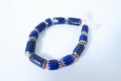 Alte Chevron Glasperlen 4 lagige Murano AK10 Old African Trade beads Afrozip