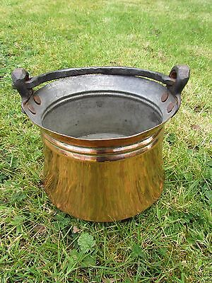 Antique Turkish Heavy Hand Made Copper Pot Cauldron Wrought Iron Handles