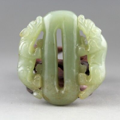 2.1'' Chinese Hetian green jade hand-carved double beast statue pendant 0908