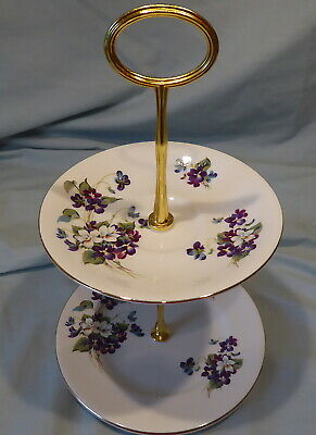 Vintage Royal Albert Violets for Love Small 2 -Tier Cake/Biscuit Stand