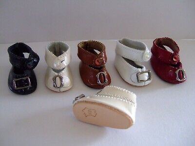 Leather shoes Size 5 (4 cm) for old or modern doll - Doll shoes - G.BRAVOT