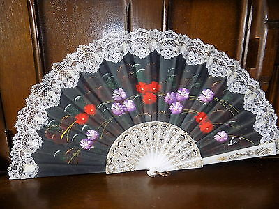 COLLECTABLE  vintage signed hand pained flower  lace trim folding hand fan