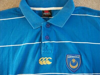 Portsmouth Fc Casual Smart Striped Polo Shirt 2009/10 (X Large) Canterbury