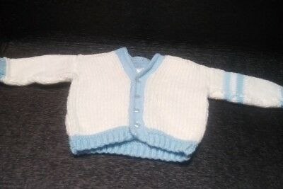 cd901a243 vintage Boy's White Blue trim Cardigan Sweater baby Size 3-6 Months hand  knitted