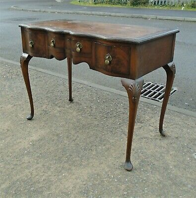 Small Vintage Mahogany Shaped Front Desk     Delivery Available