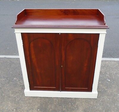 """Antique Mahogany Bookcase Storage Cupboard  F&B """"Old White""""   Delivery Available"""