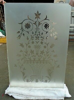 Antique Etched Glass Door Panel    Delivery Available