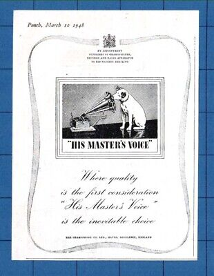 """""""HIS MASTER'S VOICE"""" - The Inevitable Choice   (1948 Advertisement) QP.1"""