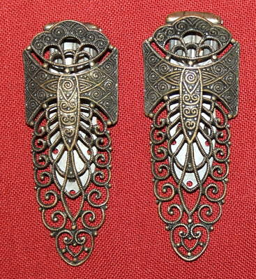 Antique Set 2 Victorian Ornate Floral Metal Filigree Brooches