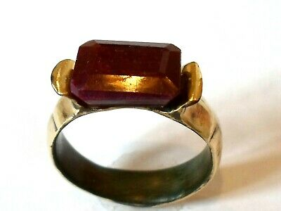 OFFER STARTS,DETECTOR FIND & POLISHED,200-400 A.D ROMAN RING WITH 5ct REAL RUBY