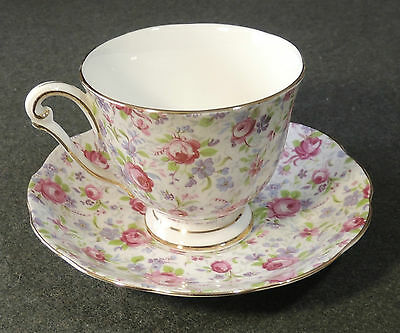 Princess Anne Fine Bone China England Rose Chintz Calico Footed Tea Cup & Saucer