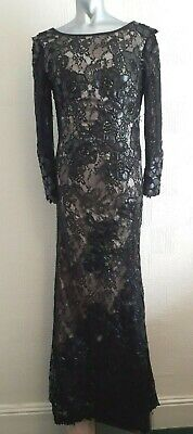 Dramatic Long Black Embroidered Lace Gothic Morticia 30S Siren Evening Dress 10