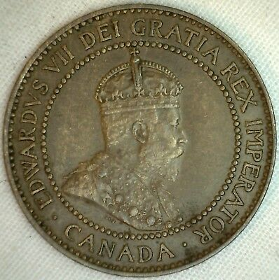 1909 Copper Canadian Large Cent Coin 1-Cent Canada AU K11