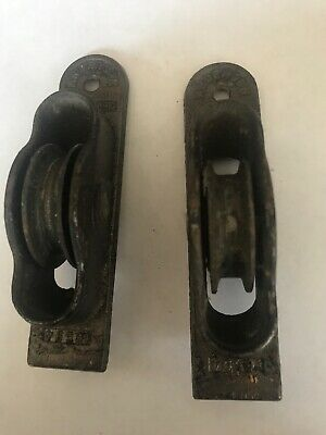 Lot Of 2 Antique Anderson Window Weights Rollers Sash Rope Pulleys Cast Iron
