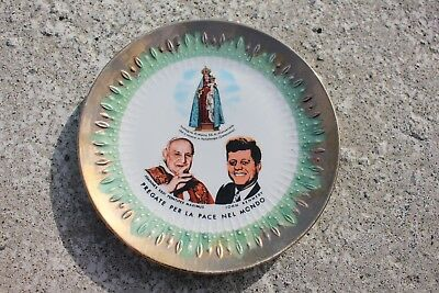 Vintage Bavaria Pray Peace Porcelain Plate John Kennedy Pope Virgin Mary #534