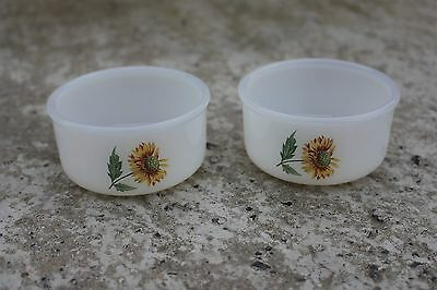 Pair of Vintage Cups Bowls Arcopal Glass retro Sunflowers Pattern France #402