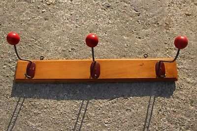 Authentic Vintage Wooden Coat Hat Wall Rack with 3 Hooks Bauhaus #72