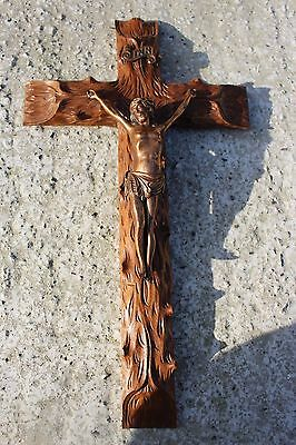 Antique Brass and Sculpted Hand Carved Jesus Christ Hanging Crucifix Cross #68