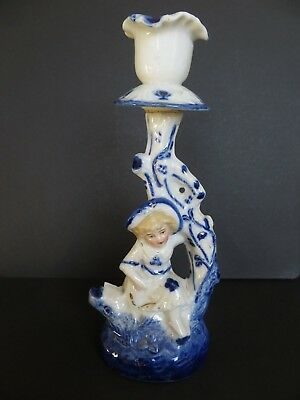 Staffordshire pottery candlestick child beneath tree - in cobalt and gilt - 19C?