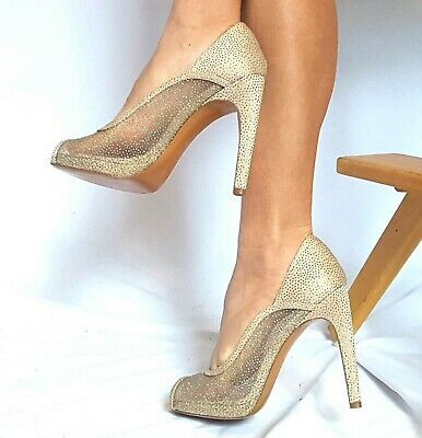 be50dac89023 Via Spiga Sz 9 M Nude Sheer Sparkle Dotted Peep Toe Women s Heels