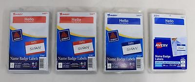 BNIB 4x AVERY 100 (2)Red 5140 & (2)Blue 5141 Printer Removable Name Badge Labels