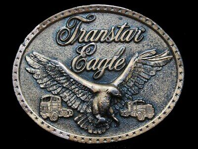 KE17116 VINTAGE 1970s **INTERNATIONAL TRANSTAR EAGLE** OVAL TRUCKER BELT BUCKLE