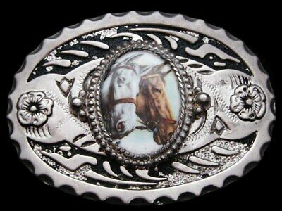 KF13105 VINTAGE 1970s ***TWO HORSES*** WESTERN STYLE SILVER & BLACK BUCKLE