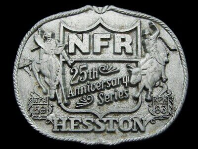 KF09124 GREAT 1983 **NFR** HESSTON 25th NATIONAL FINALS RODEO BELT PEWTER BUCKLE