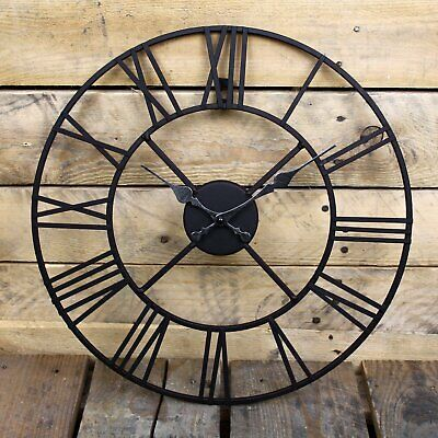 60cm Large Indoor Outdoor Garden Wall Clock Metal Roman Numeral Round Face Black