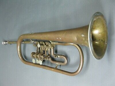 Old Trumpet with Patina and Bumps 45 cm Defective