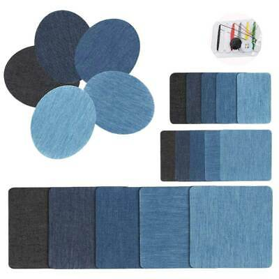 20pcs Iron On Denim Repair Patches Kit For Mending And Embellishing Blue Jean US