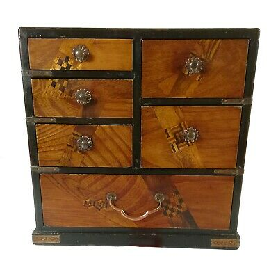 Vintage Japanese Inlaid Lacquer Work Tansu Chest Jewellery Box Showa