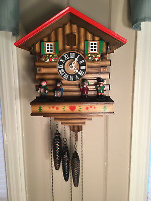 Vintage Musical 3 Weight Cuckoo Clock with Rotating Band Members Germany