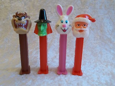 Lot of 4 Pez Dispensers with Feet - Santa, Easter Bunny, Witch, Taz