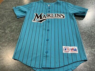 81e5b9617 VINTAGE 90s Florida Marlins MLB Majestic Pinstriped Jersey YOUTH Size Large