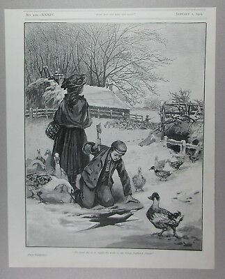 Boy Farmer Breaking Snow & Ice So His Poultry Birds Can Drink Antique Engraving