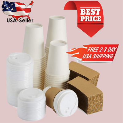 New 12 oz To Go Coffee Cups with Sleeves Lids & Stirrers 50 Pack Hot Coffee