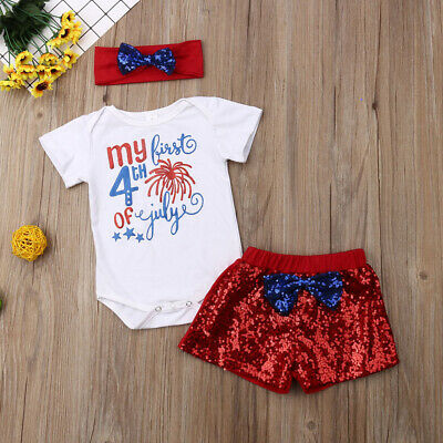 My First 4th of July Infant Baby Girl 1st Independence Romper Pants Headband