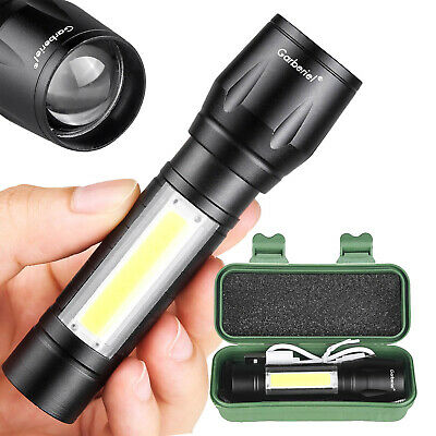 Tactical 15000LMS XPE T6+COB Zoomable LED Flashlight Torch Lamp USB Rechargeable