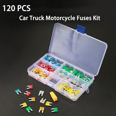 Mini 120pc Blade Fuse Assortment Auto Car Truck Motorcycle FUSES Kit ATC ATO ATM