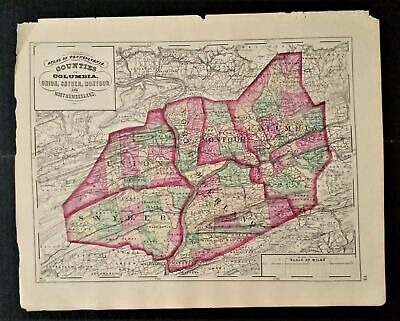 1872 antique hand colored MAP pa COLUMBIA UNION SNYDER MONTOUR NORTHUMBERLAND