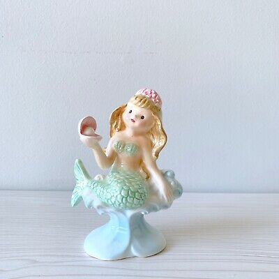 Vintage 50s 60s Ceramic Mermaid Holding Pearl in Shell Marked 1806 on Bottom
