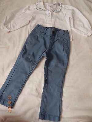 DARLING H&M Girls 18-24 2T spring  Blue Floral Collar Blouse Pants OUTFIT PRETTY