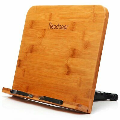 Reodoeer BamBoo Reading Rest Cook Book Document Wood Stand Holder Bookrest New