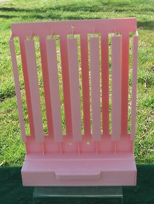 Vintage Pink Plastic Sewing Thread Spool Holder w Drawer Hanging / Counter