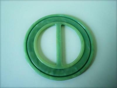Vintage Marbled Green Celluloid or Other Plastic Slide Buckle 2 1/2 In.