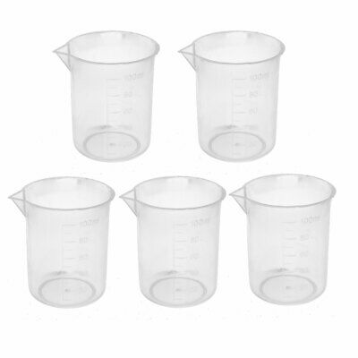 5pcs 100ml PP Laboratory Spout Container Measuring Cup Clear