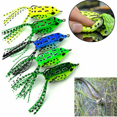 Lots 5x Large Frog Topwater Soft Fishing Lures Crankbait Hooks Bass Bait Tackle