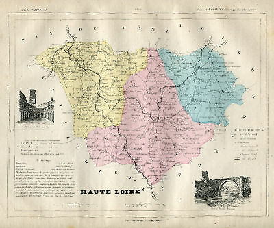 Genuine Original Antique 1877 France Hand Colored Map HAUTE LOIRE French Europe