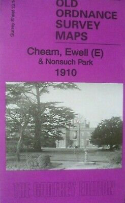 Old Ordnance Survey Maps Cheam Ewell E & Nonsuch Par Surrey 1910 Godfrey Edition